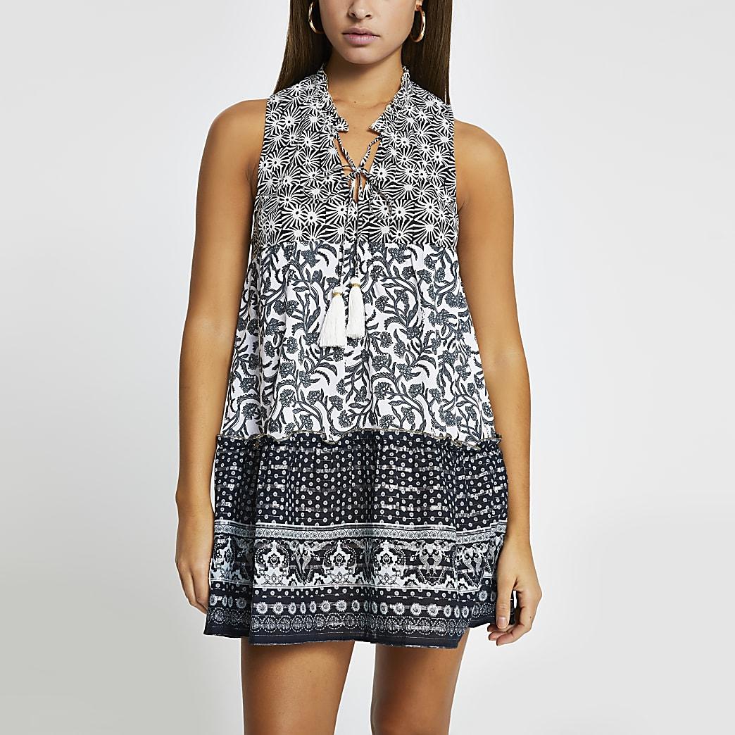 Black mixed print mini beach dress