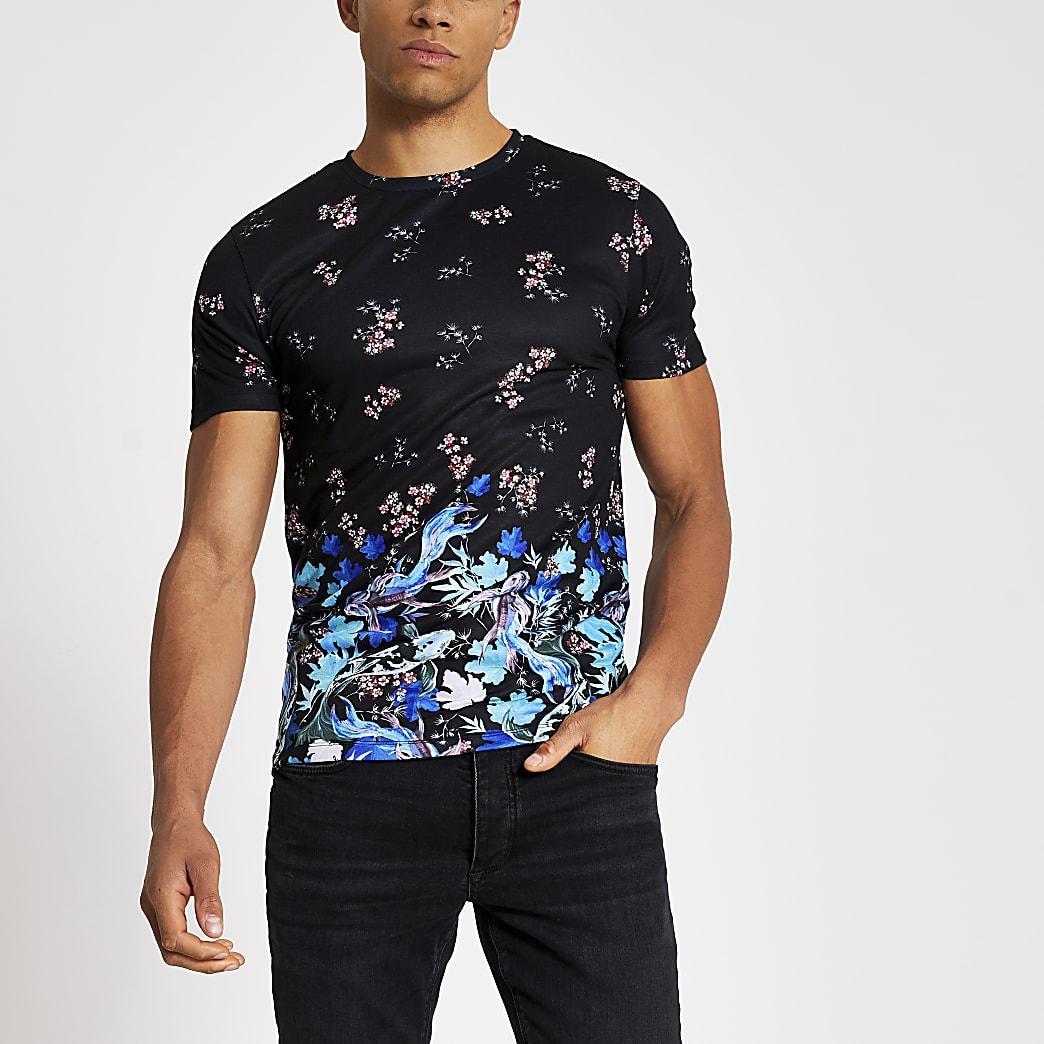 Zwart muscle-fit T-shirt met gemengde print