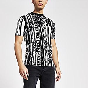 Zwart slim-fit T-shirt met gemengde print