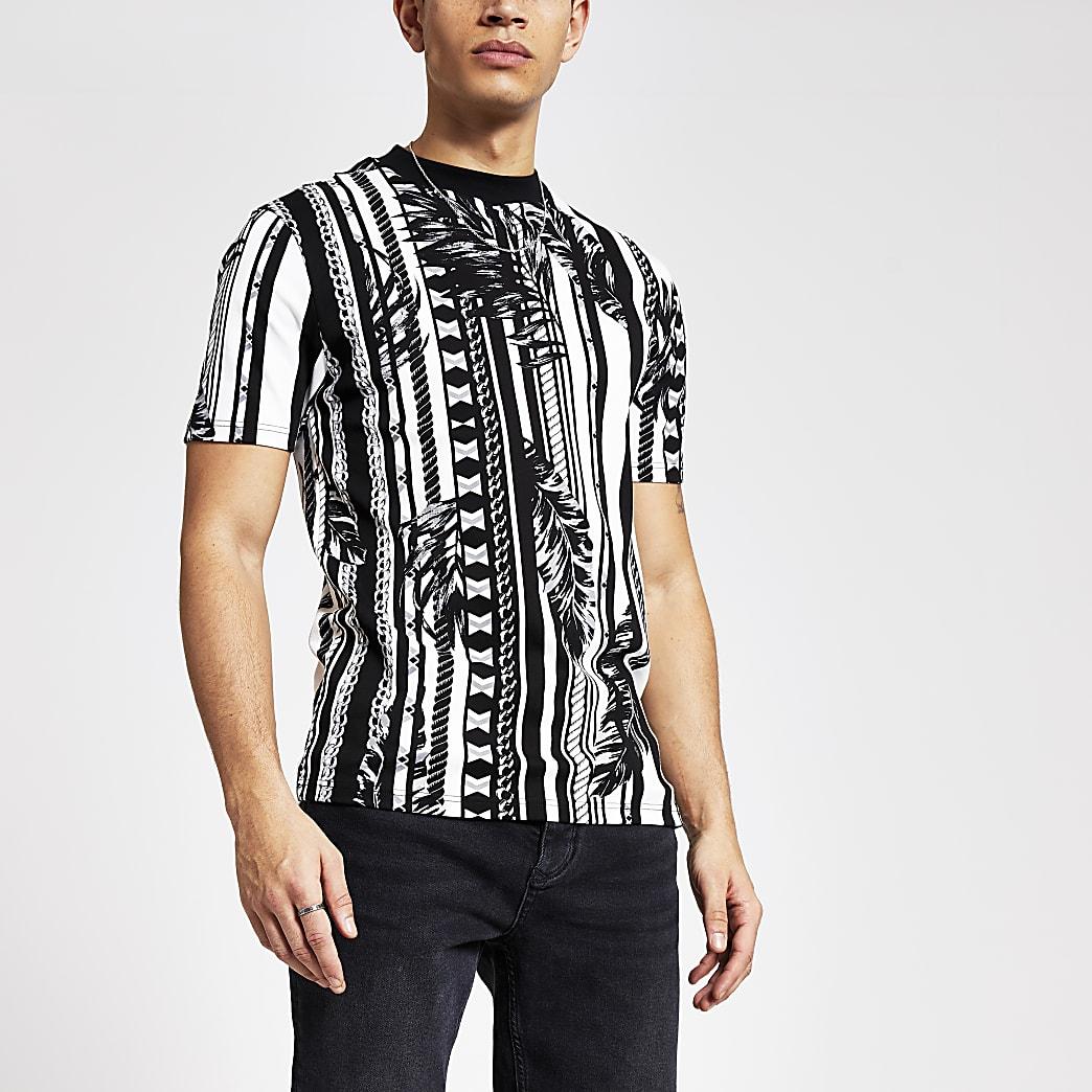 T-shirt slim noir à imprimés mixtes