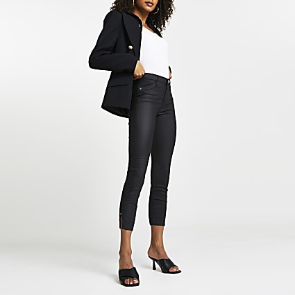 Black Molly Coated mid rise cropped jean