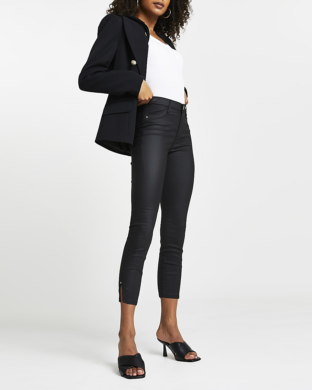 Black Molly coated mid rise cropped jeans