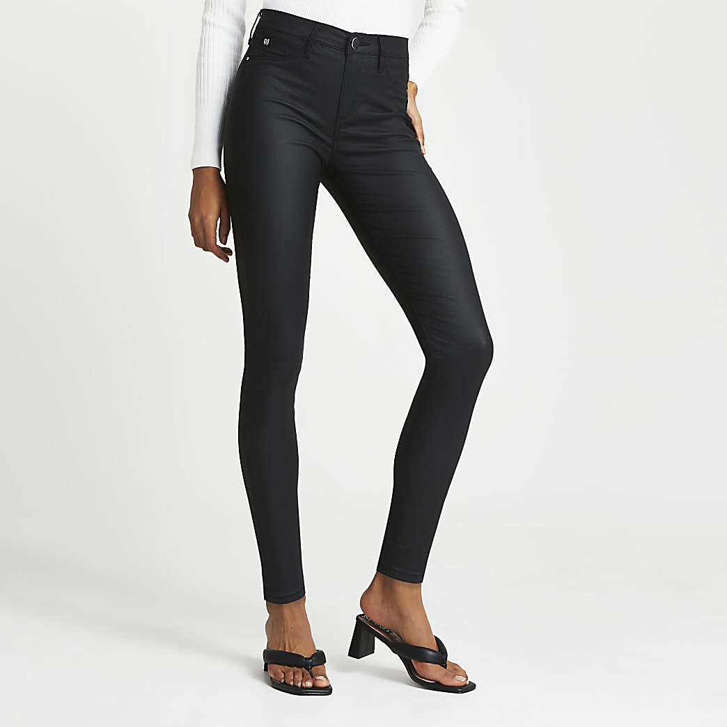 Black Molly Coated Mid Rise Skinny Jean