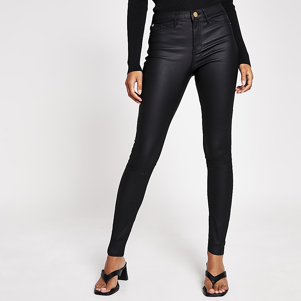 Black molly mid rise coated jean