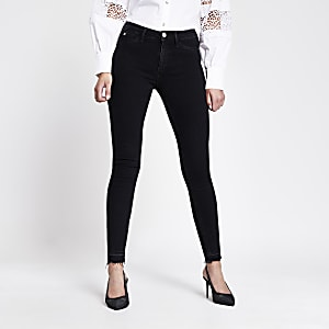 Molly - Zwarte mid rise jegging