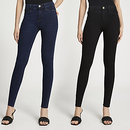 Black Molly mid rise multipack jeans
