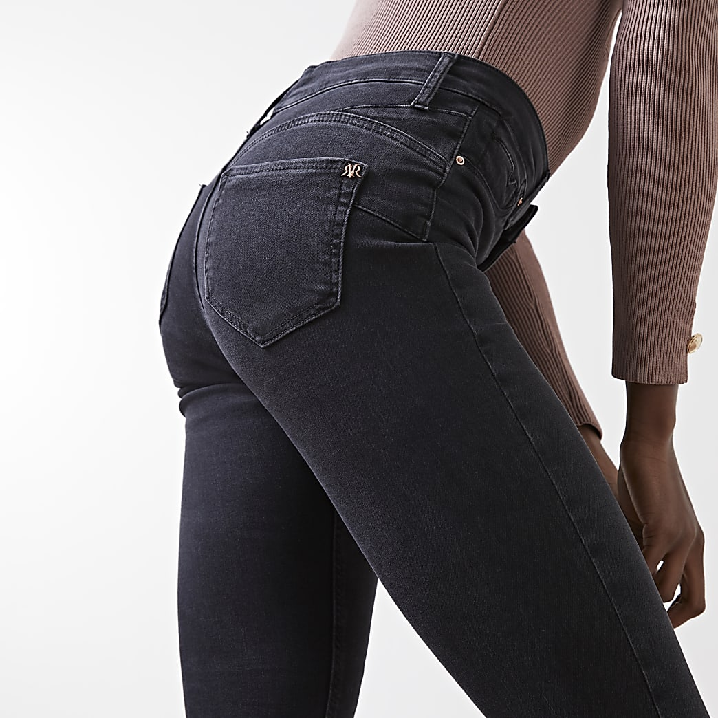 Black Molly mid rise skinny bum sculpt jeans