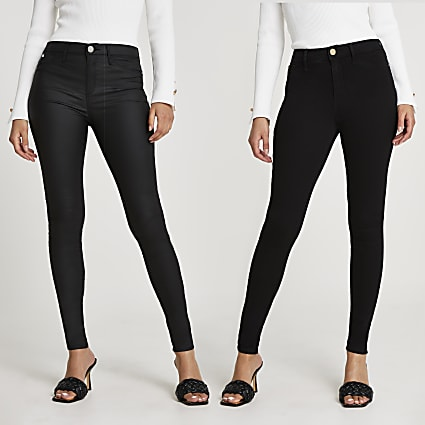 Black Molly mid rise skinny jeans multipack