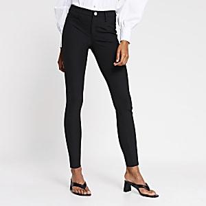 Zwarte Molly broek met halfhoge taille