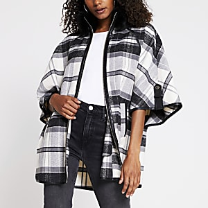 Black Mono Check Cape Jacket