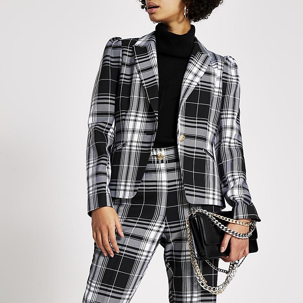 Black mono check long sleeve blazer