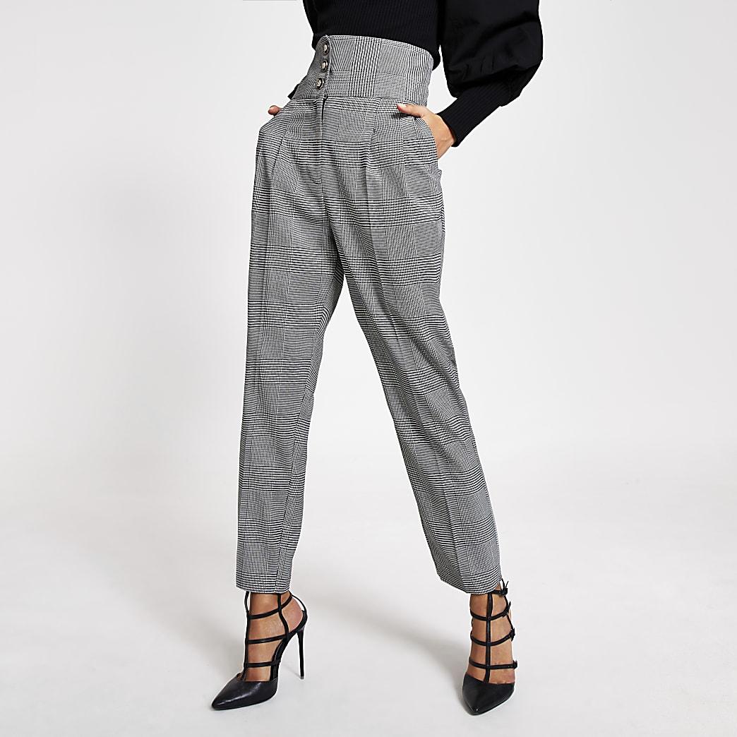 Black mono check tapered corset trouser
