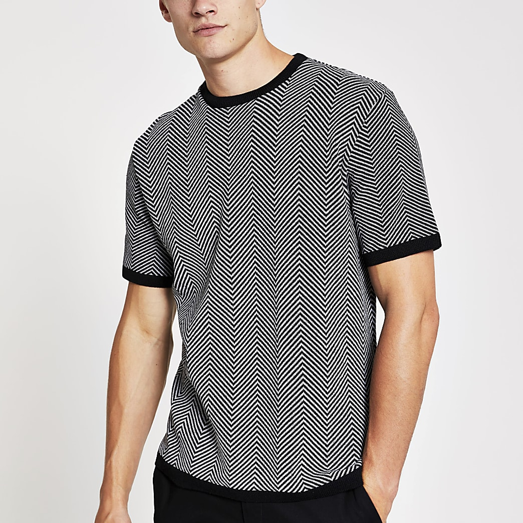 Black mono knitted T-shirt