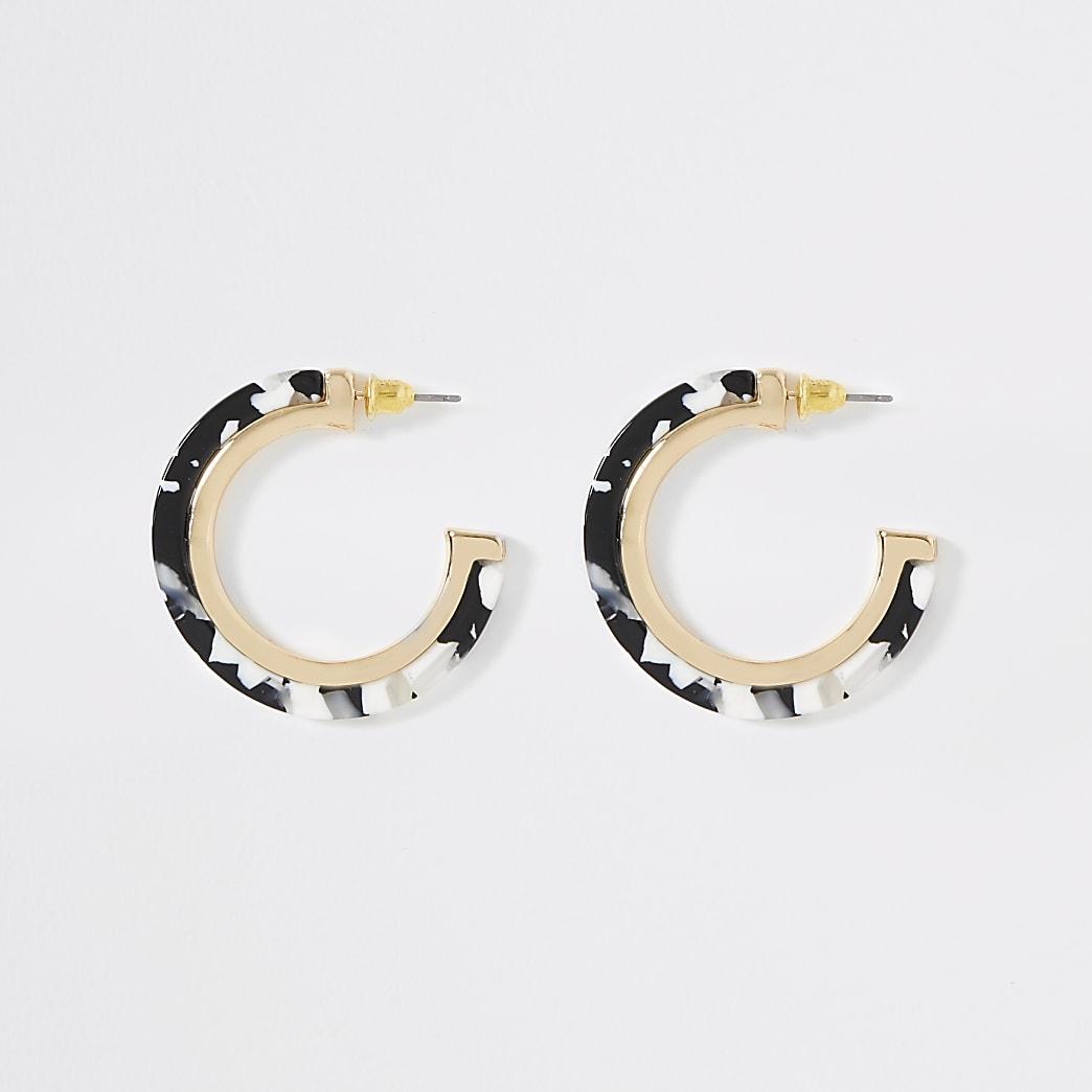 Black mono print hoop earrings