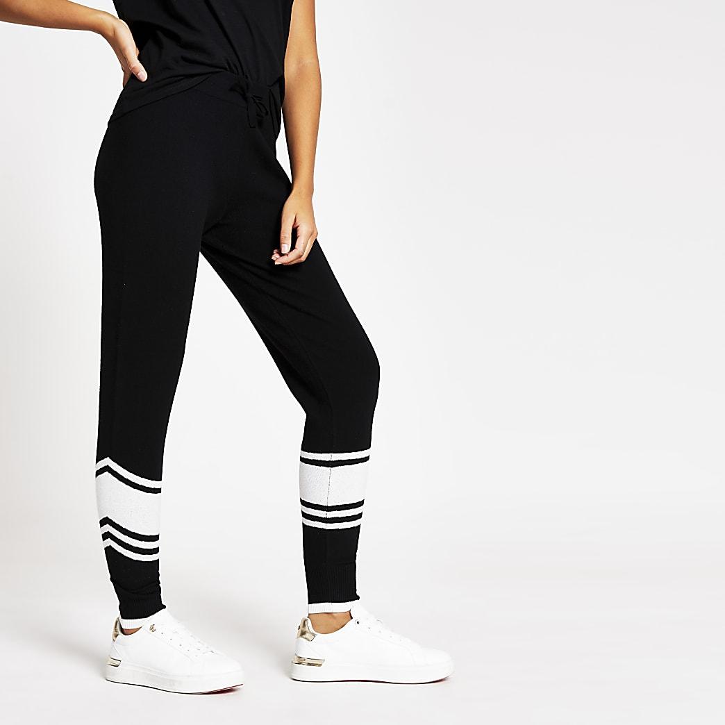 Pantalon de jogging en maille noire avec bande noire et blanche