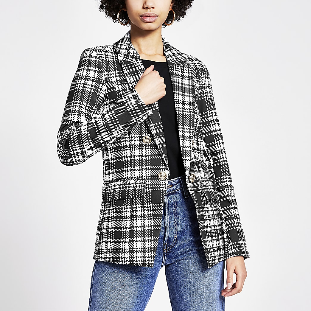 Black monochrome check button front blazer