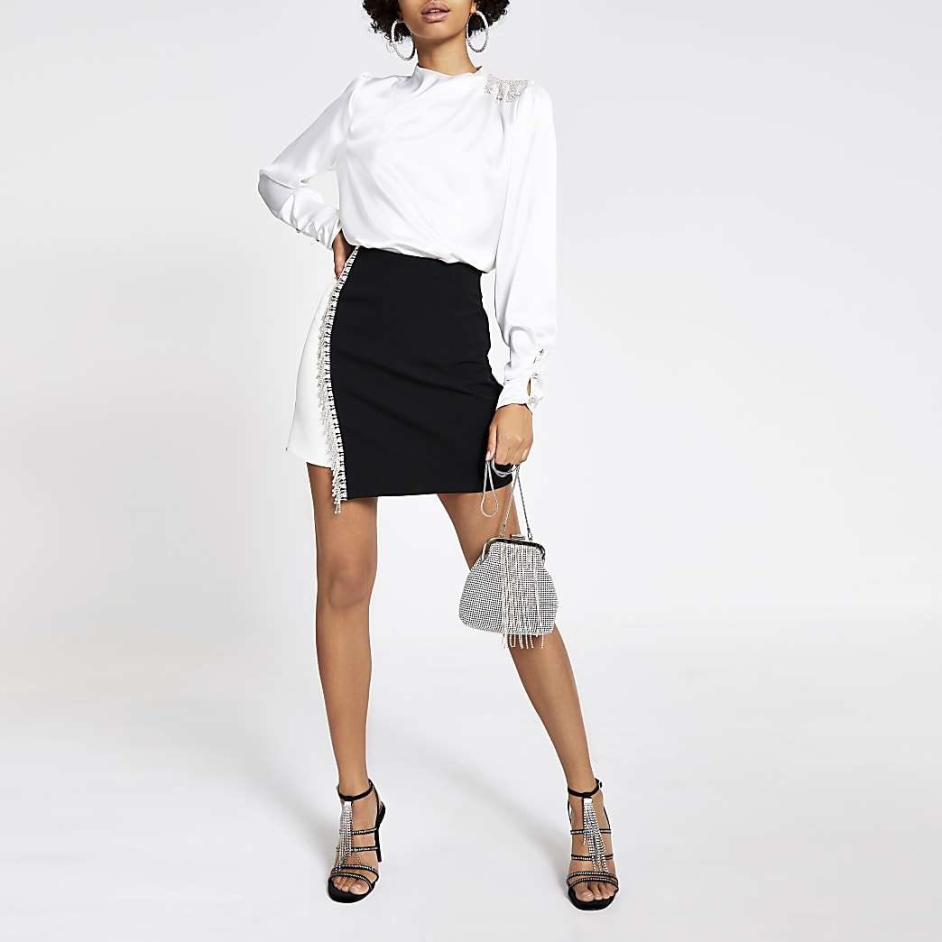 Black monochrome diamante mini skirt
