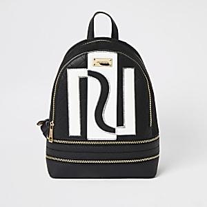 Zwarte monochrome rugzak met RI-print