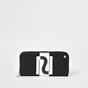 Schwarze Monochrome-Geldbörse mit RI-Motiv und umlaufendem Reißverschluss