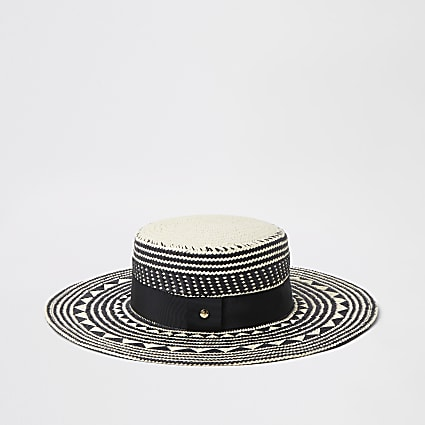 Black monochrome straw boater hat