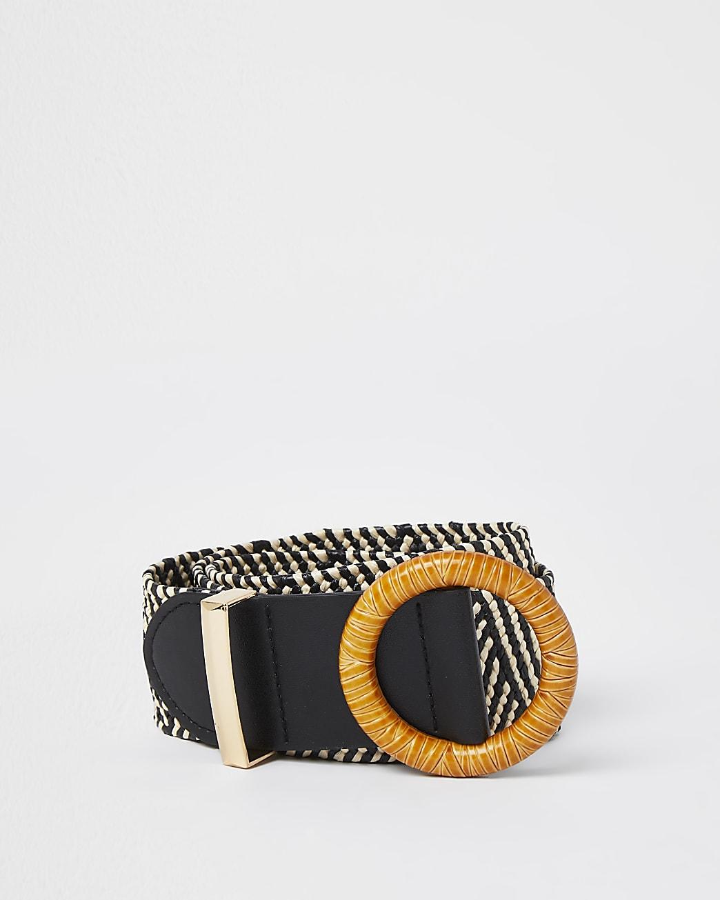 Black monochrome stripe raffia belt