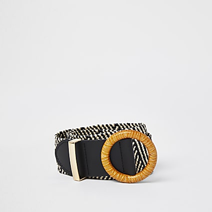 Black monochrome stripe raffia belt