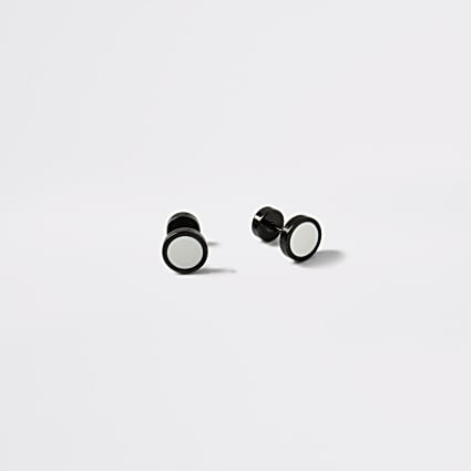Black monochrome tunnel earrings