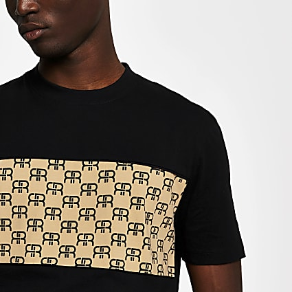 Black monogram block slim fit T-shirt