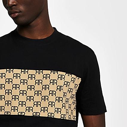 Black monogram block slim fit T-shirt