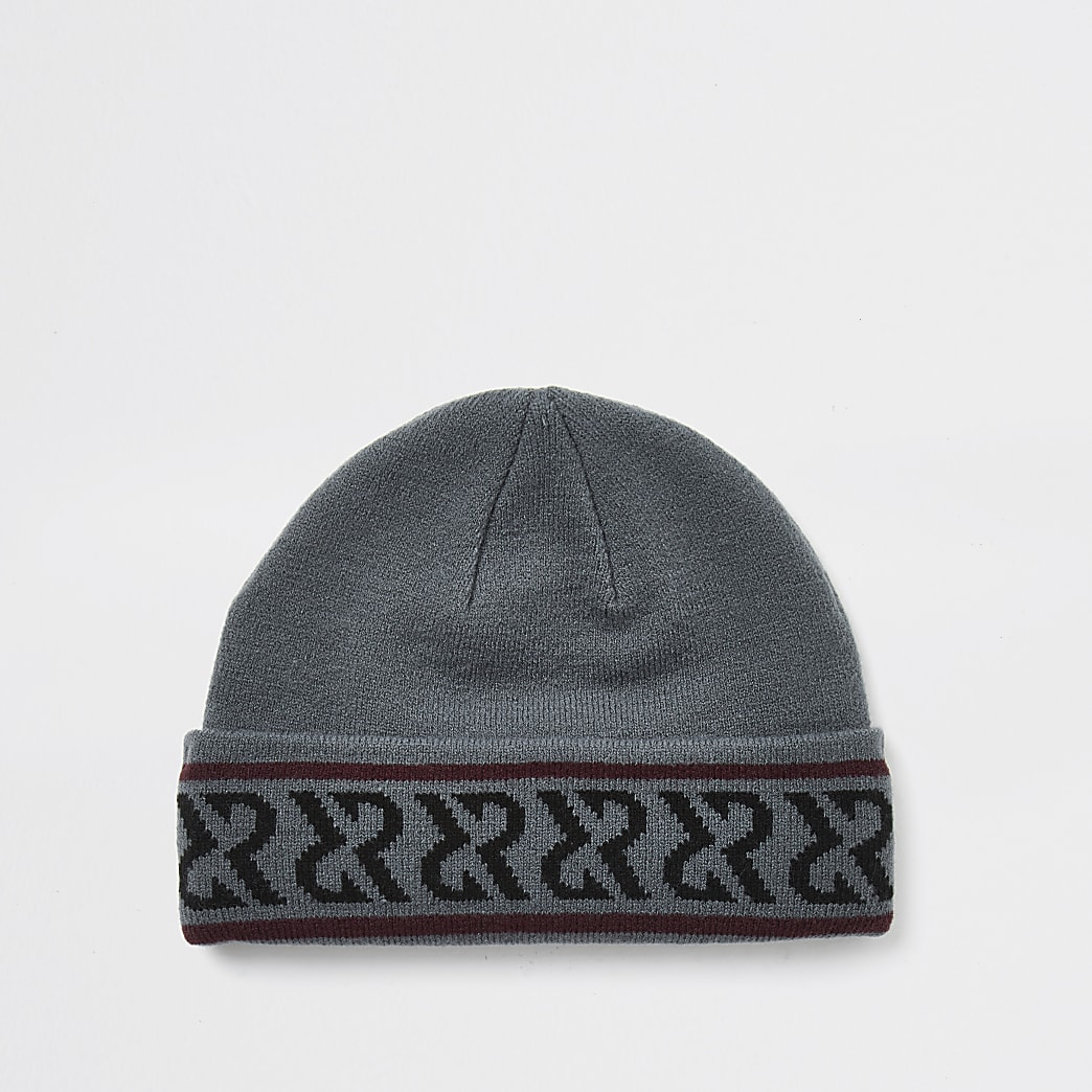 Black monogram docker beanie hat