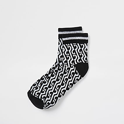 Black monogram midi tube socks
