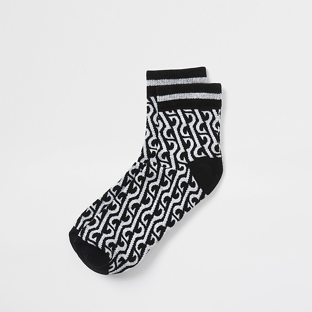 Black monogram midi tube socks