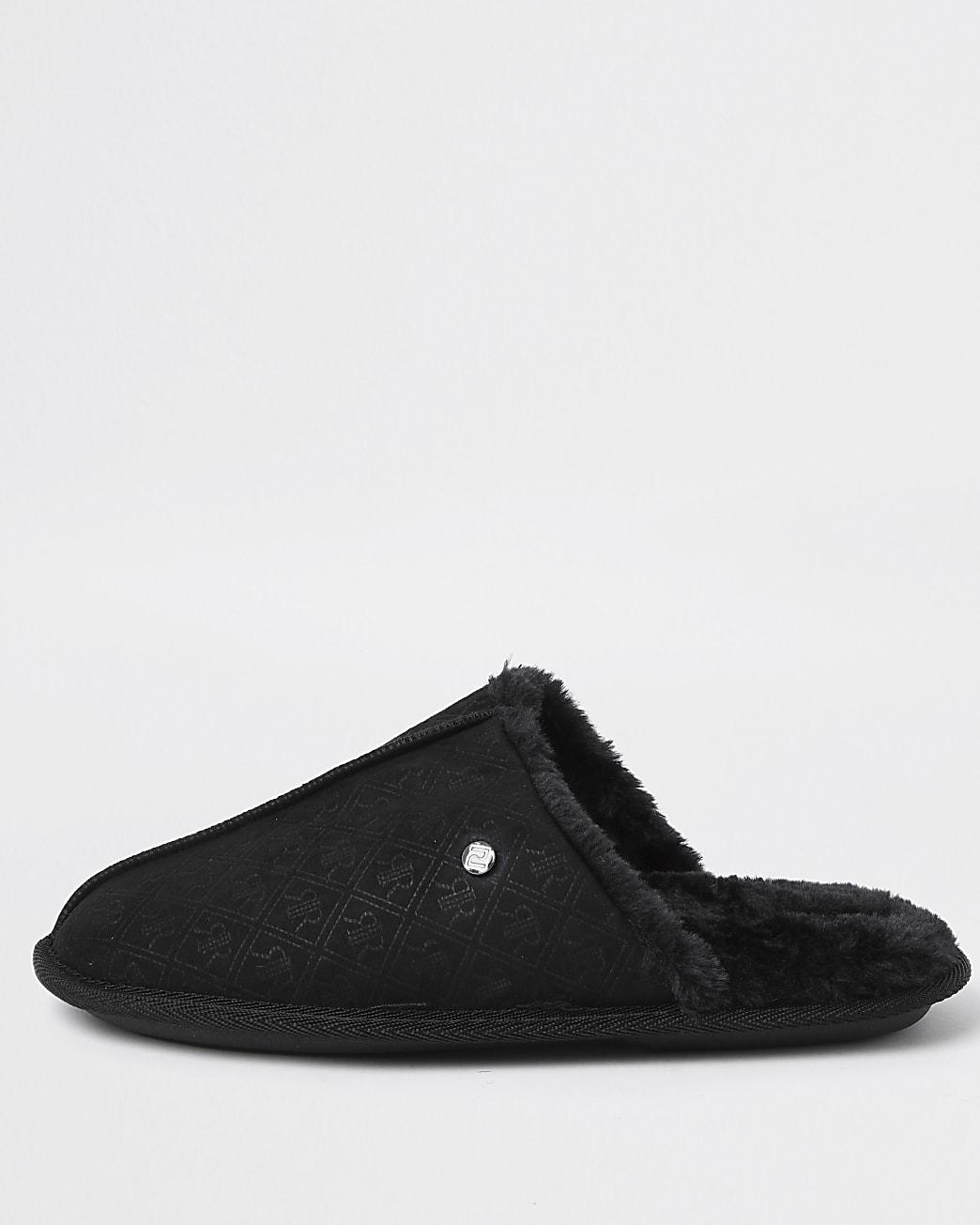 Black monogram mule slipper