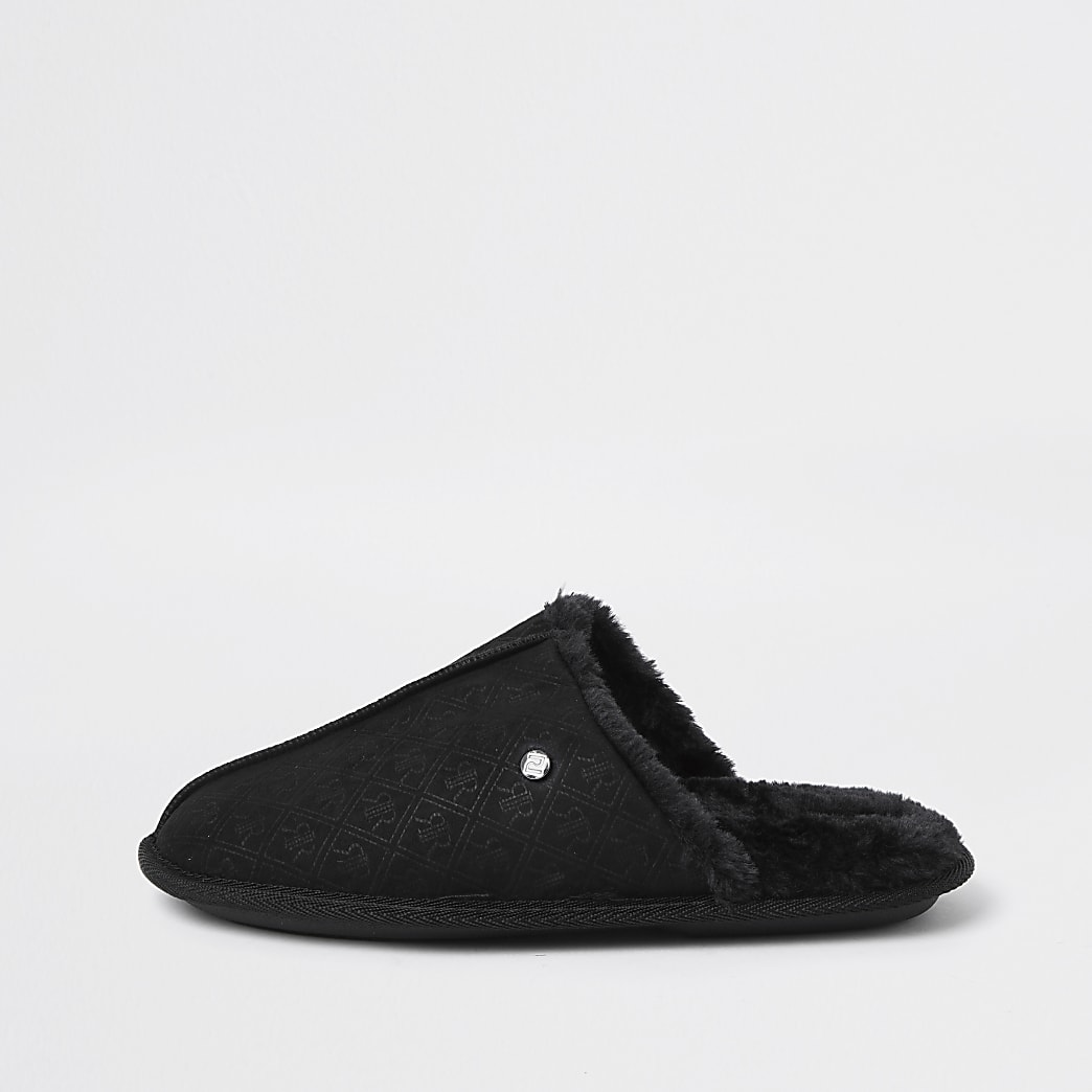 Black monogram mule slipper