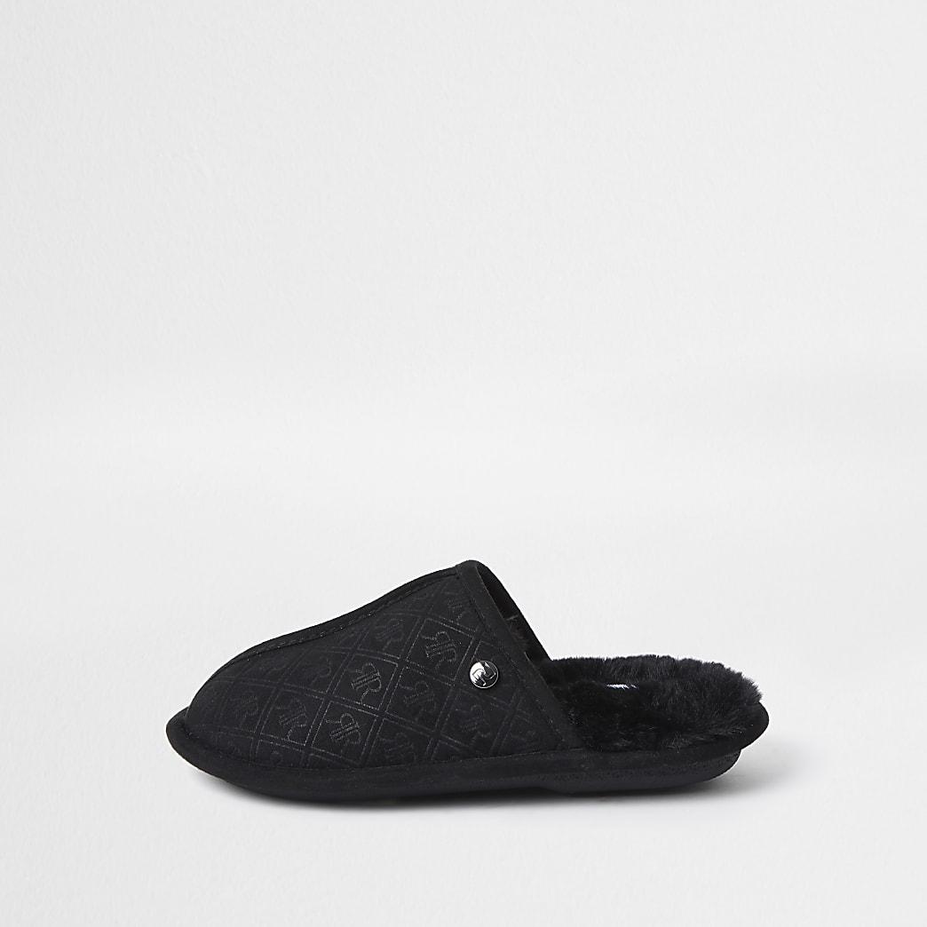 Black monogram mule slippers