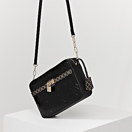 Black monogram patent cross body handbag