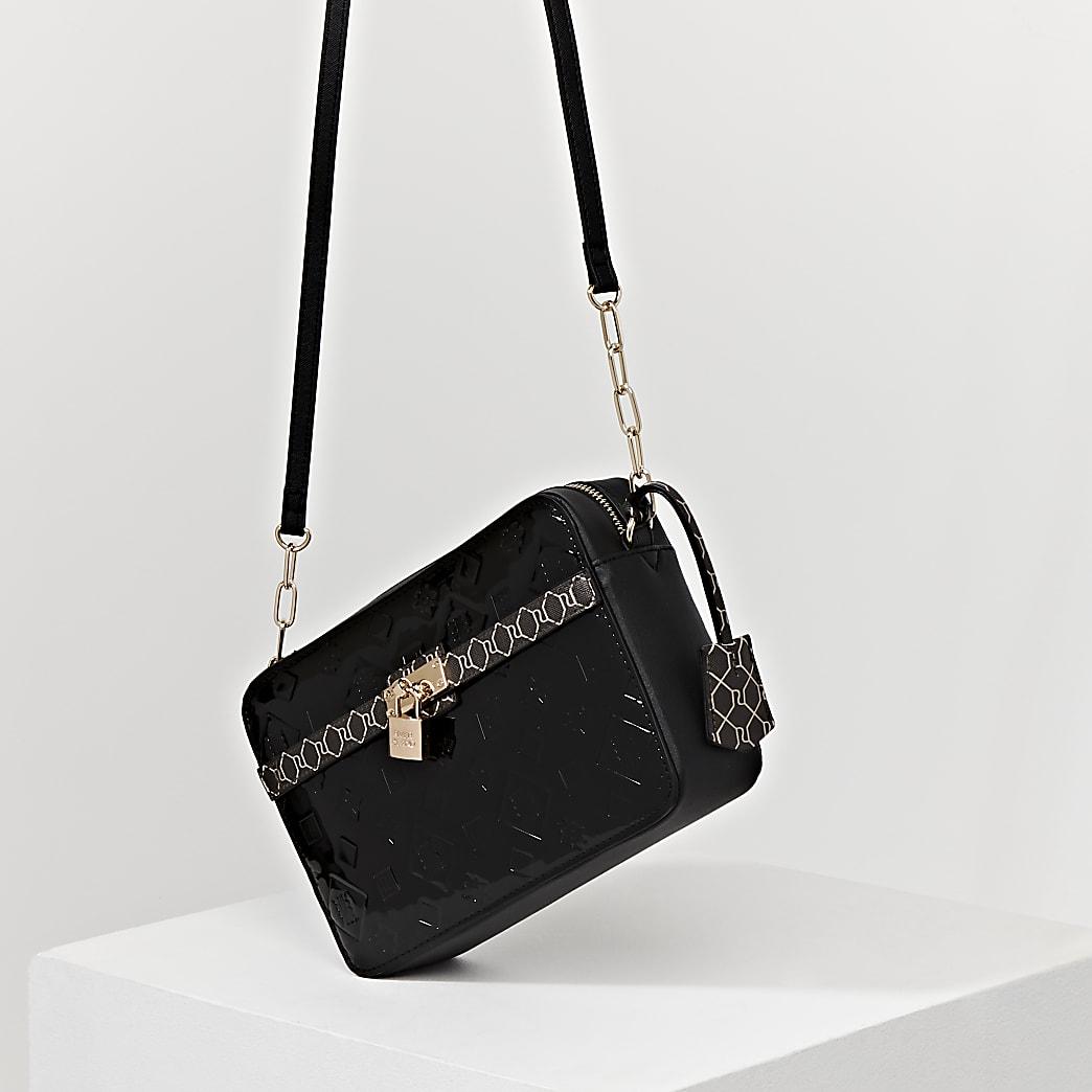 Black monogram patent cross body handbag