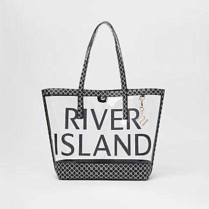 Black monogram perspex shopper bag