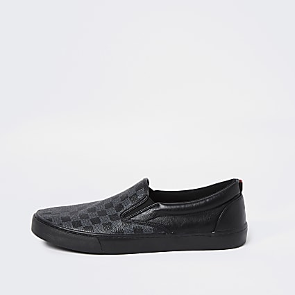 Black monogram plimsoles