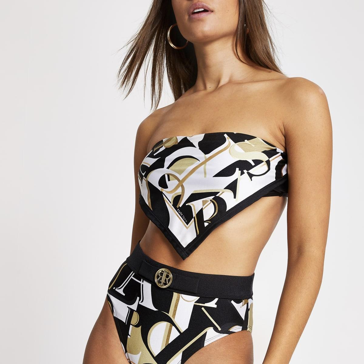 Schwarzes Bandeau-Bikinioberteil mit Monogramm-Print