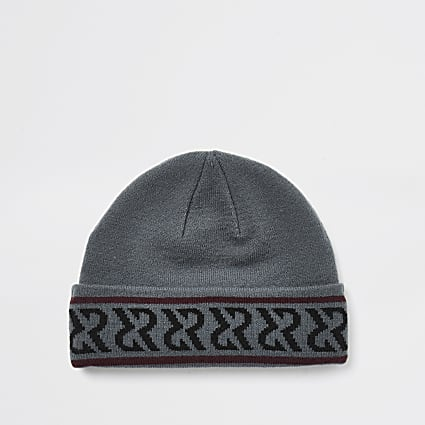 Black monogram print beanie hat