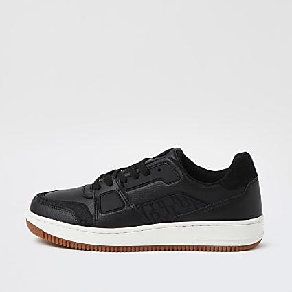 Black monogram print lace up trainers