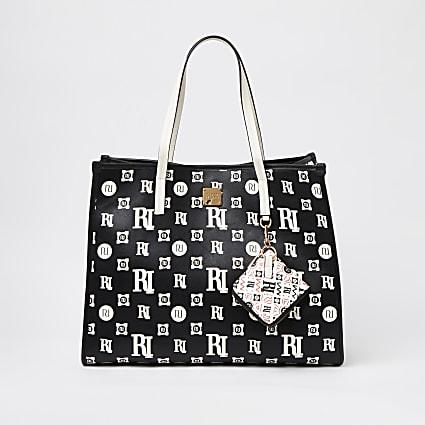 Black monogram print square shopper bag