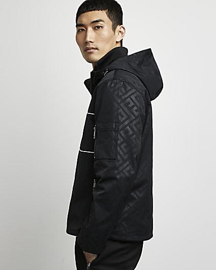 Black monogram pullover hooded jacket