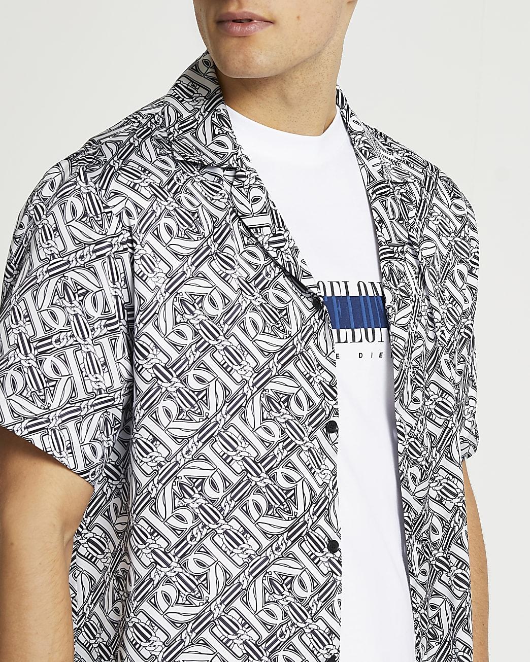 Black monogram revere short sleeve shirt