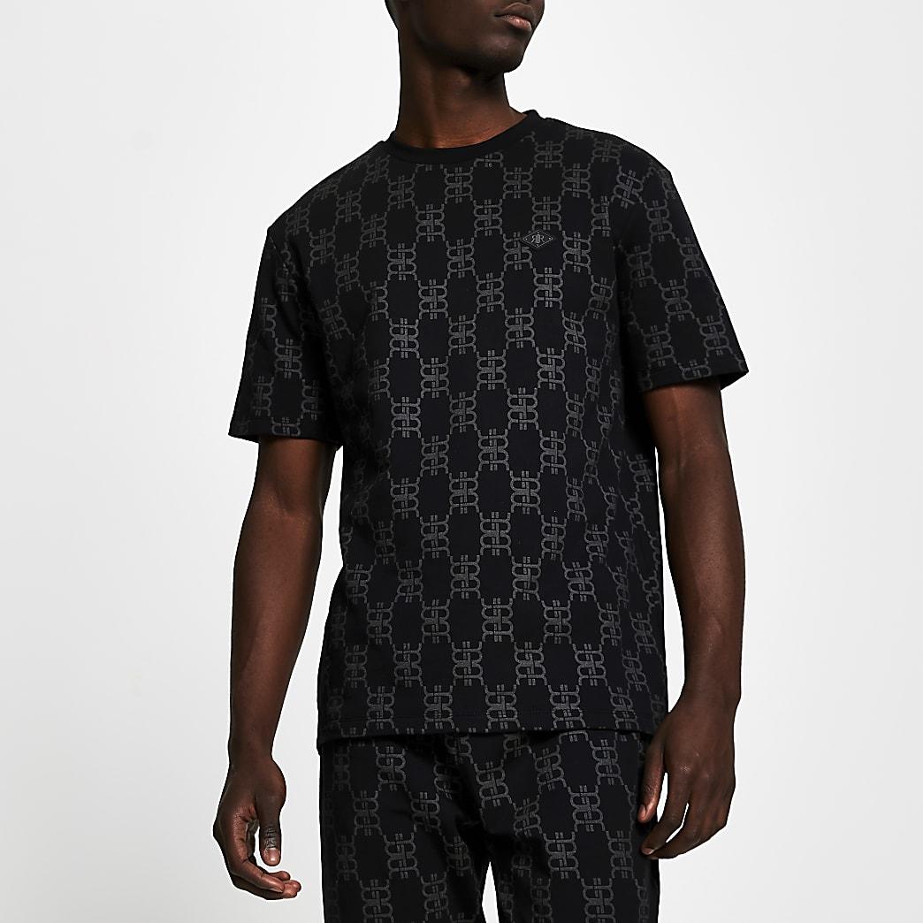 Black monogram short sleeve pyjama t-shirt