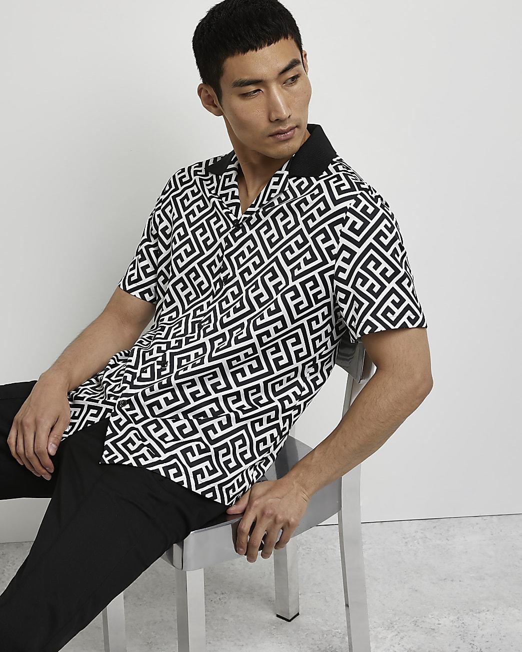 Black monogram short sleeve revere shirt