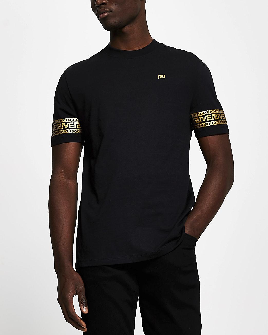 Black monogram sleeve slim fit T-shirt