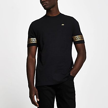 Black monogram sleeve slim fit T-shirt