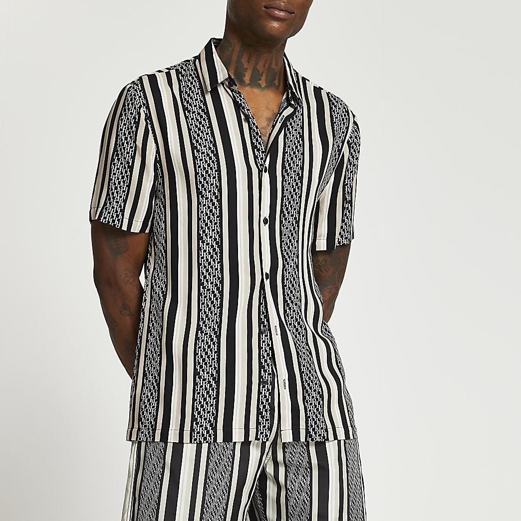 Black monogram stripe short sleeve shirt